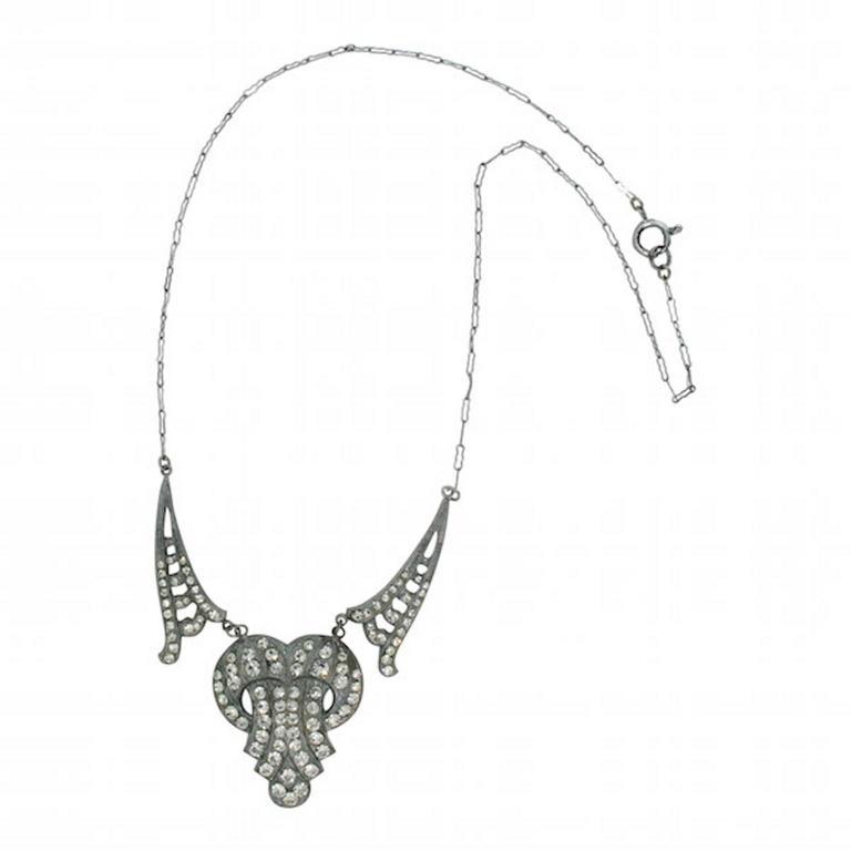 1920s Floral Rhinestone Vintage Necklace For Sale at 1stdibs