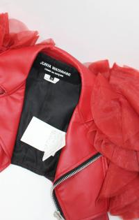 Junya Watanabe Comme Des Garcons Red Faux Leather Ruffle ...