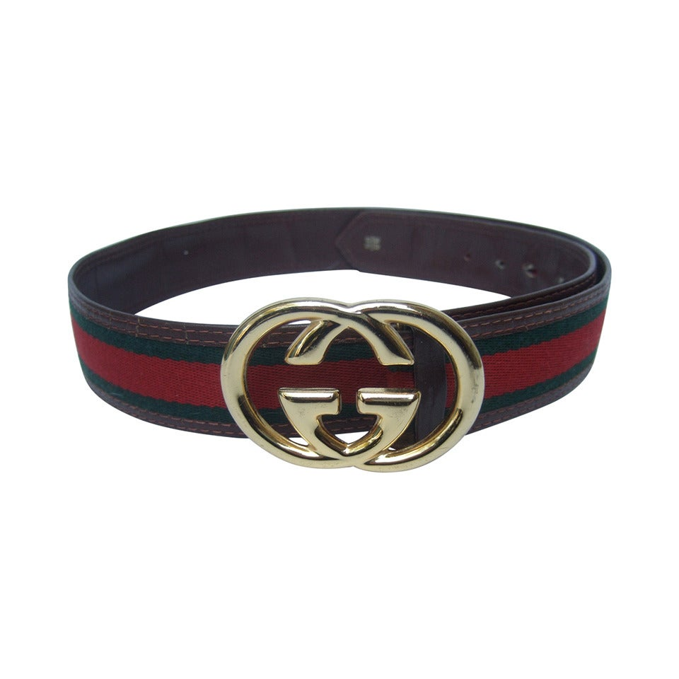 Gucci Sleek Gilt Buckle Red And Green Striped Belt C 1980s