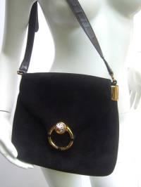 Gucci Italy Rare Black Suede Tiger Clasp Shoulder Bag c ...
