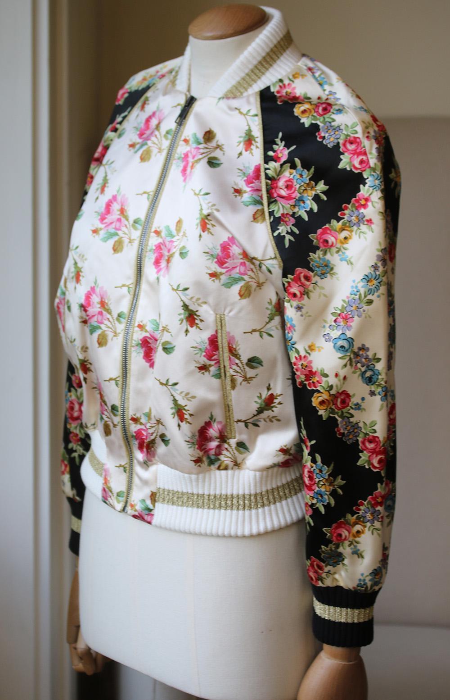 c26dcc32966 Gucci Appliqud Floral Print Duchesse Silk Satin Bomber Jacket For