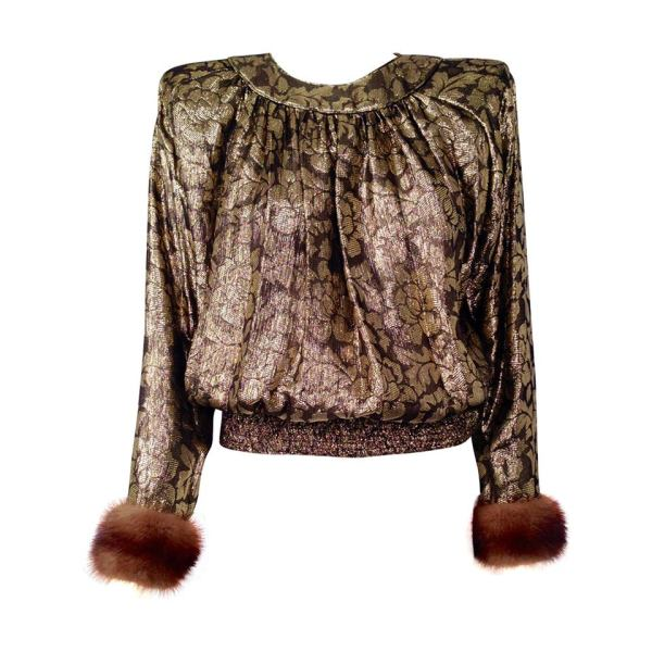 "Valentino ""night"" Gold Lame Blouse With Mink Cuffs 1stdibs"