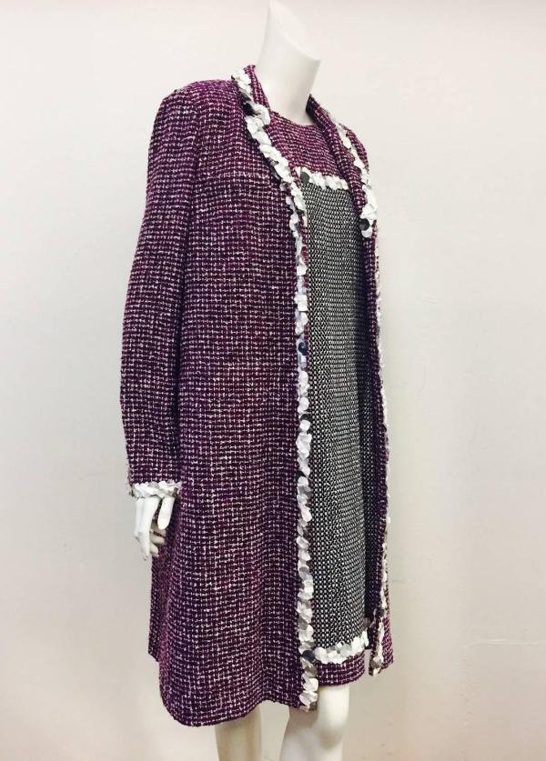 Chanel Purple Tweed Sleeveless Dress And Matching Coat