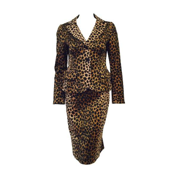 Leopard Print Skirt Suit