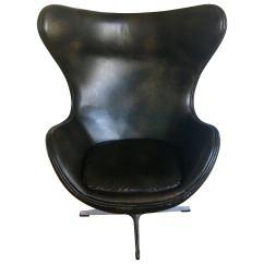 Modern Egg Chair Side Arne Jacobsen Style Brown Leather Swivel Aluminum Danish At 1stdibs