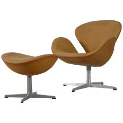 Arne Jacobsen Swan Chair Swivel Living Room Chairs Modern And Ottoman Newly Reupholstered In Tan Leather 1964 For Sale