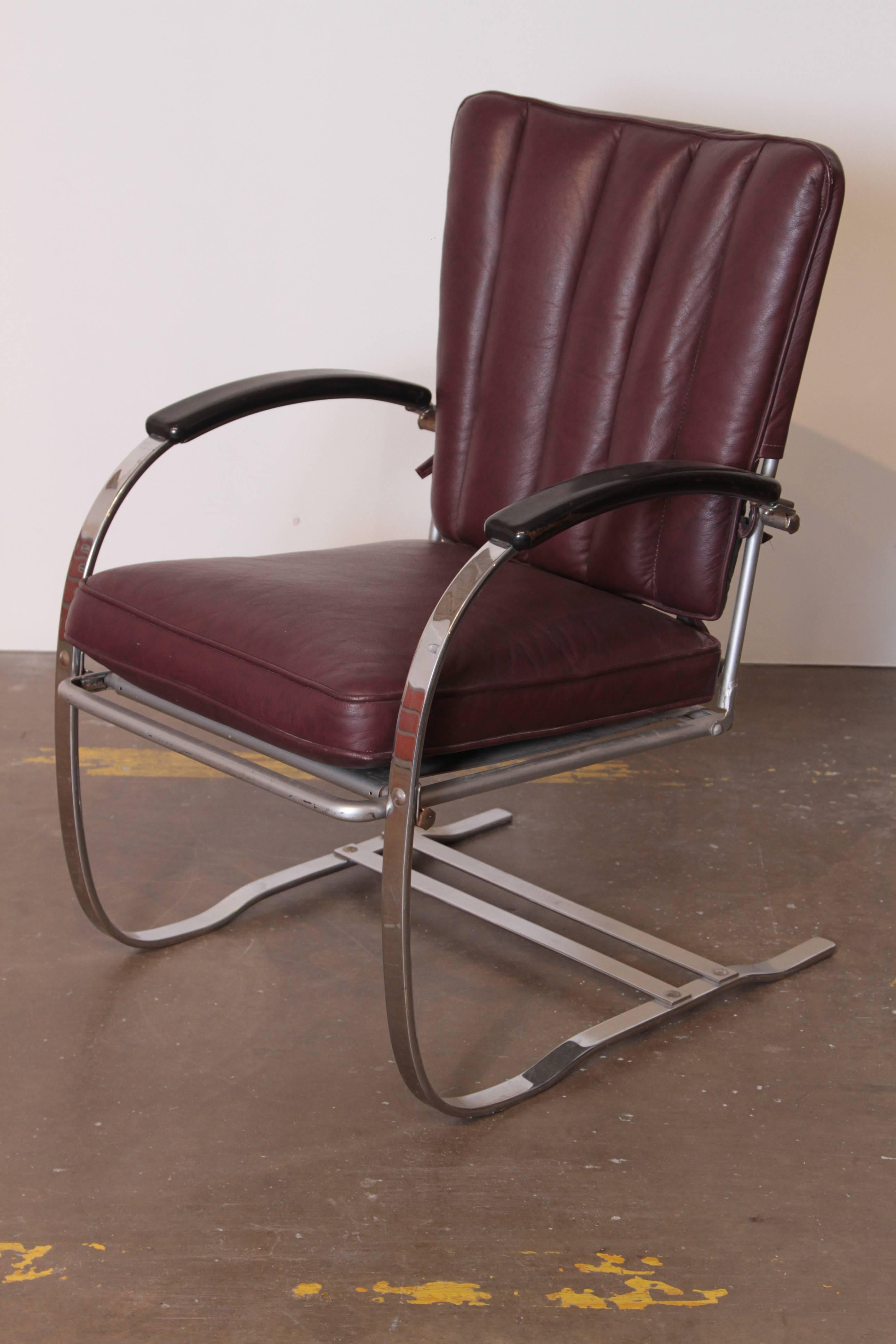 Spring Chair Art Deco Machine Age Wolfgang Hoffmann For Howell Cantilever Springer Chair