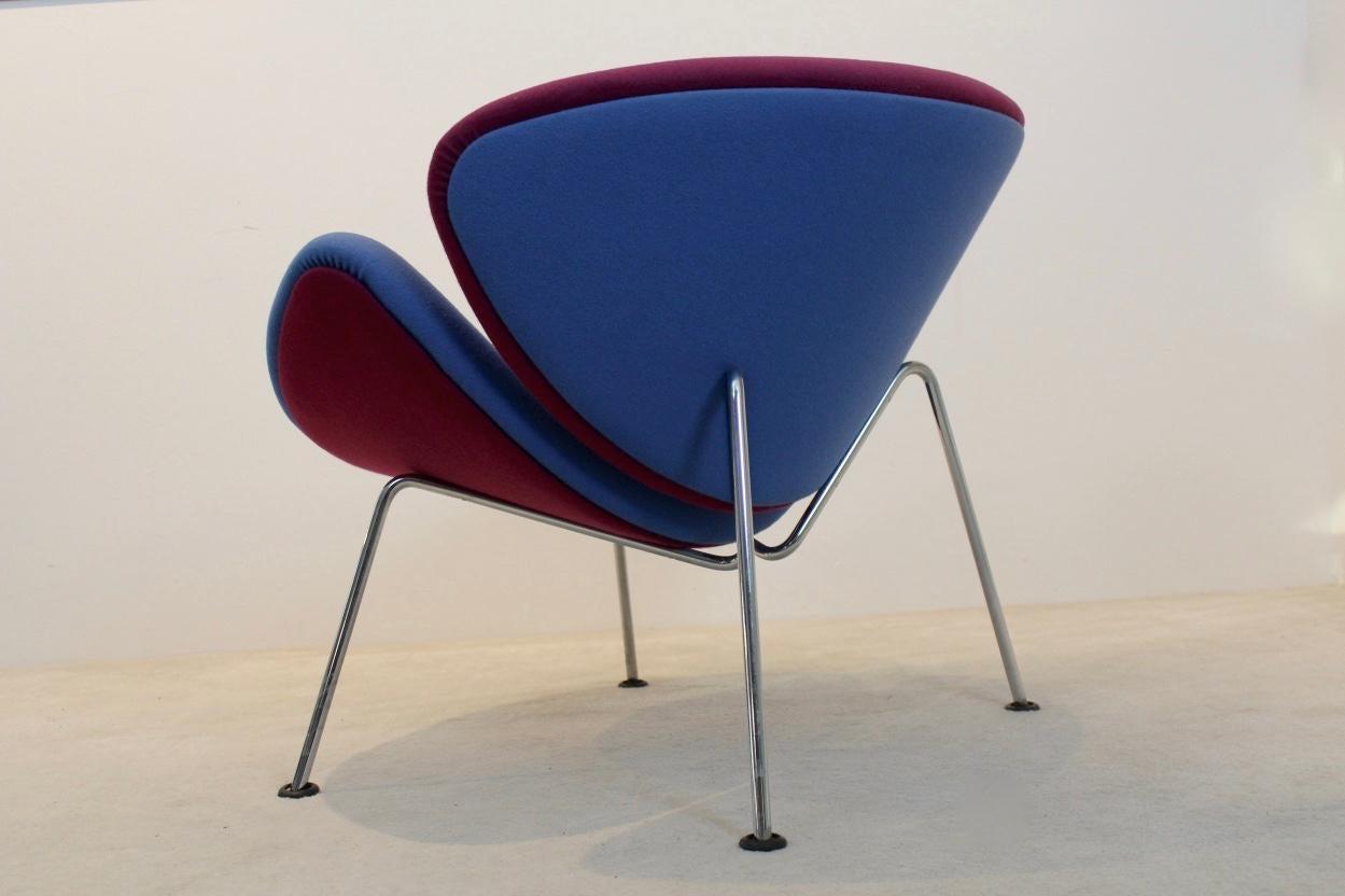 orange slice chair steel square artifort f437 in pink and blue by pierre paulin mid century modern