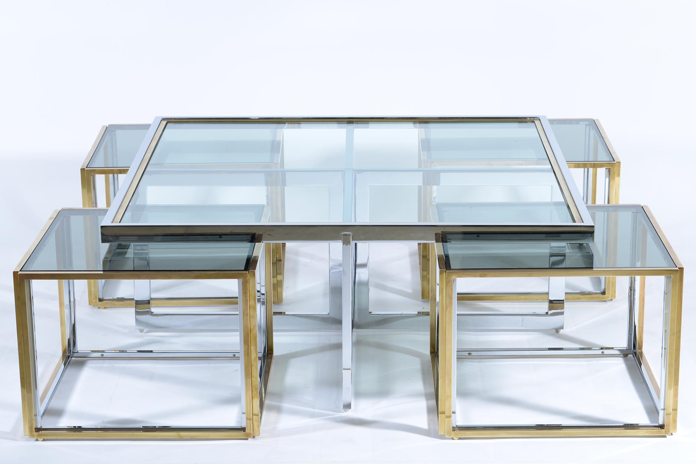 banci firenze midcentury chrome and gold brass glass top nest coffee table 1970