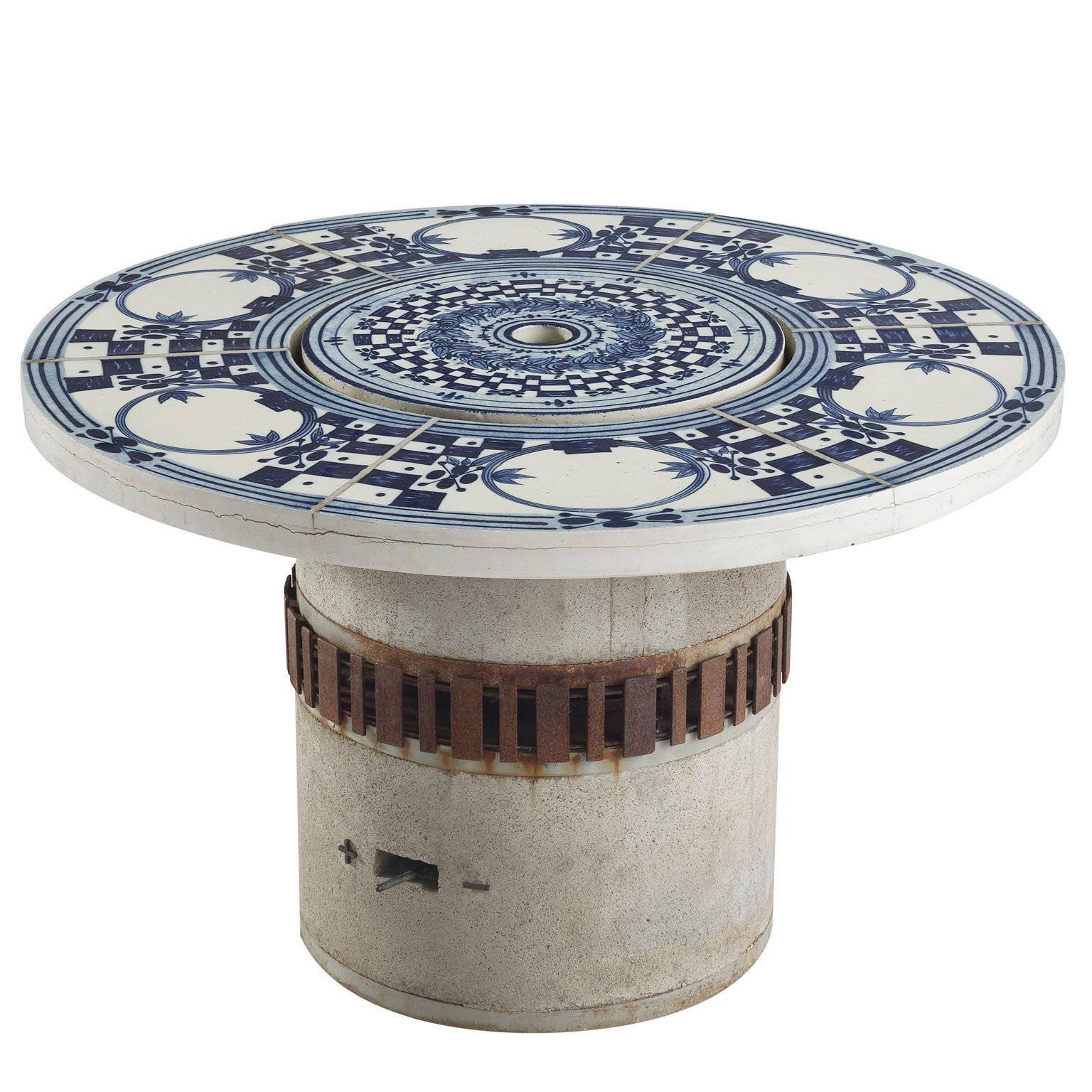bjorn wiinblad hibachi patio grill table with hand painted ceramic top