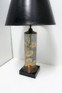 Tall Black and Gold Glass and Brass Table Lamp For Sale at ...