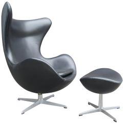 Jacobsen Egg Chair Leather Rental Denver Black And Ottoman By Arne For Fritz Hansen Sale