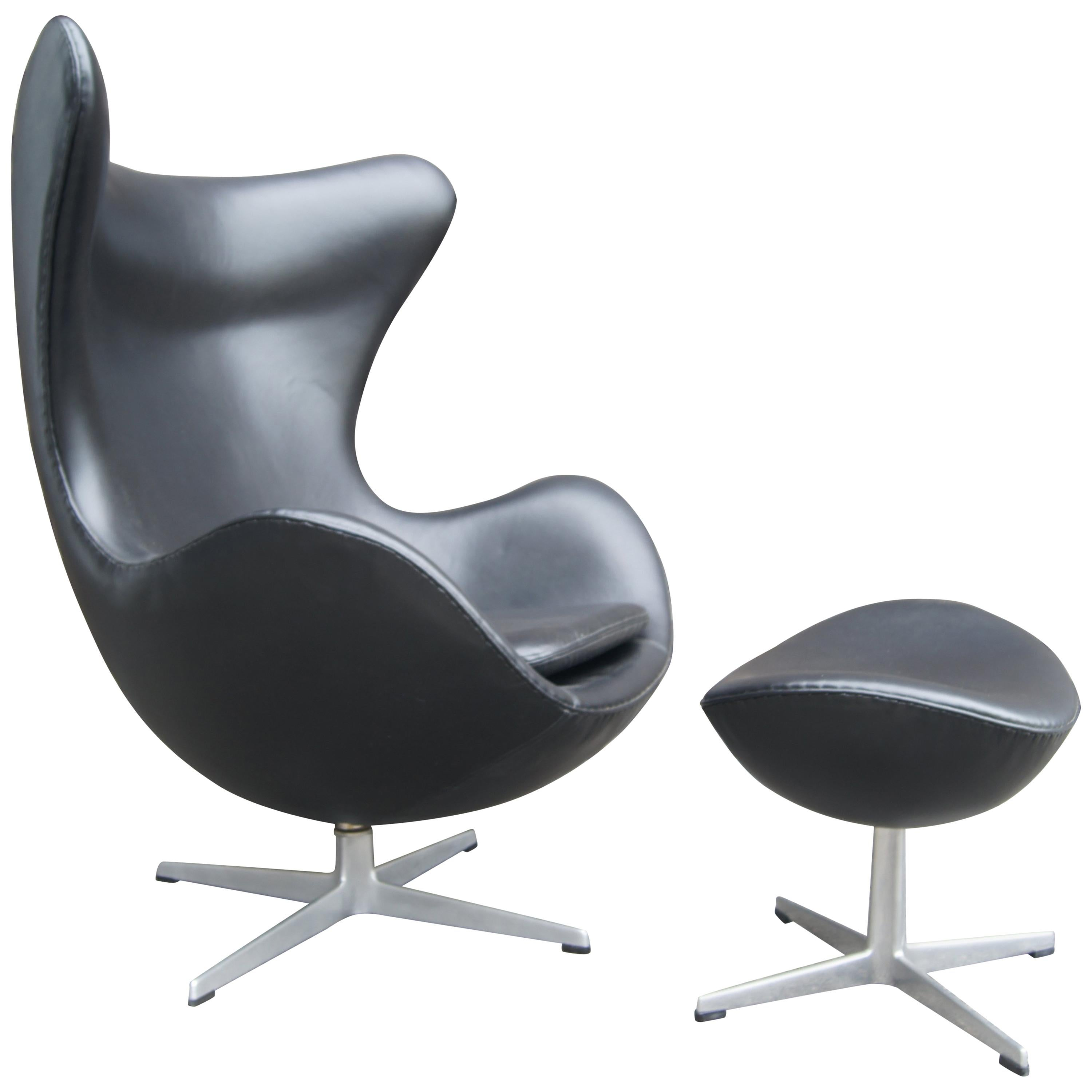 Egg Chairs For Sale Cheap Black Leather Egg Chair And Ottoman By Arne Jacobsen For Fritz Hansen