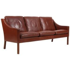 Borge Mogensen Sofa Model 2209 Grey Crushed Velvet Scs Three Seat In Original Brown Leather For Sale