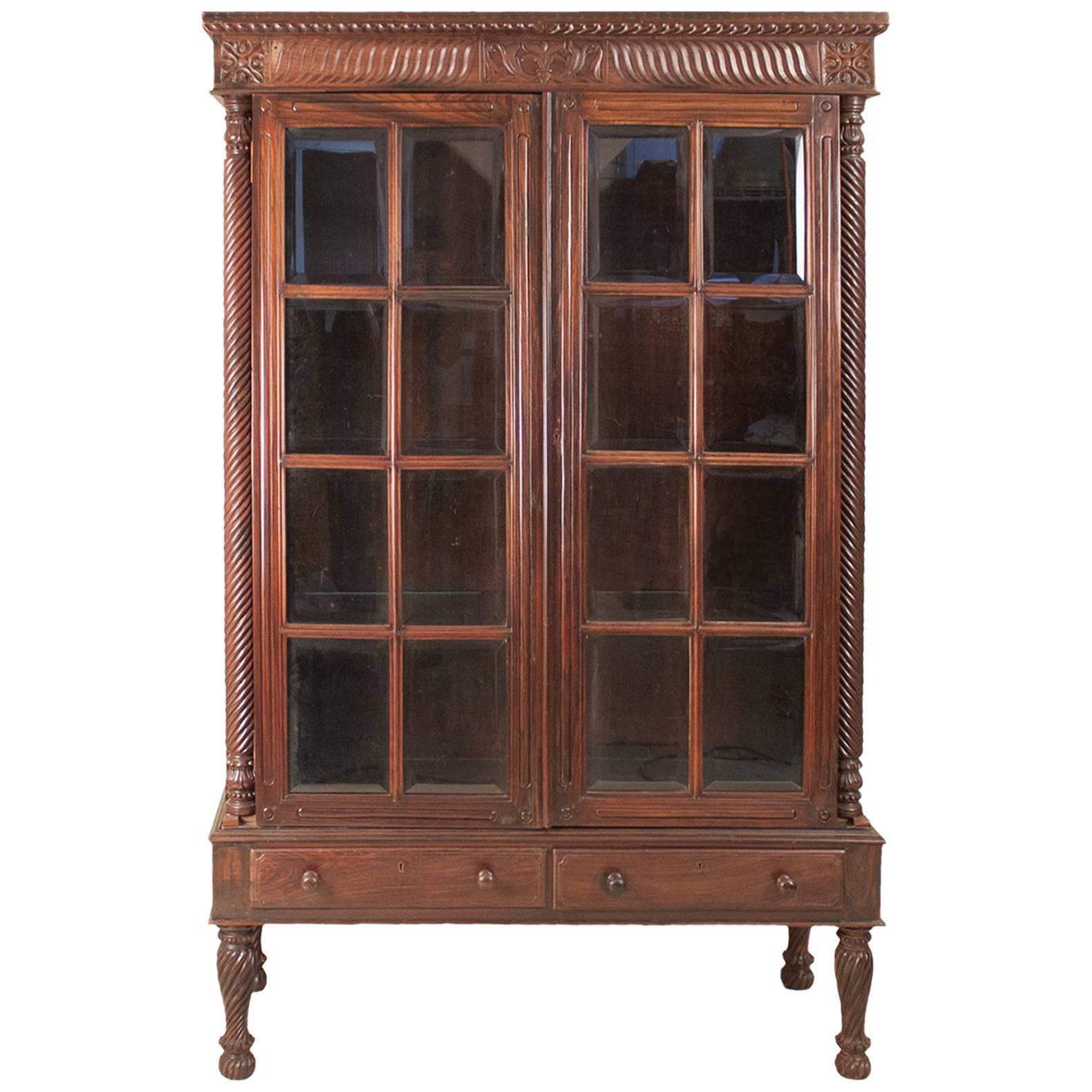 French 1900s Cherry Wood Two Part Cabinet With Inset Glass Doors And Drawers