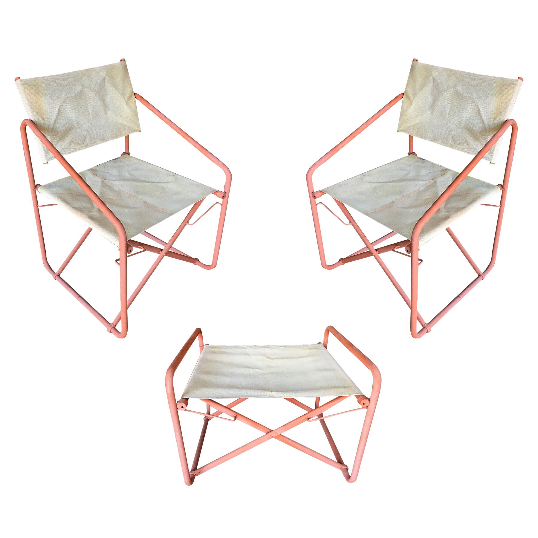brown jordan nomad folding patio director chairs and side table set