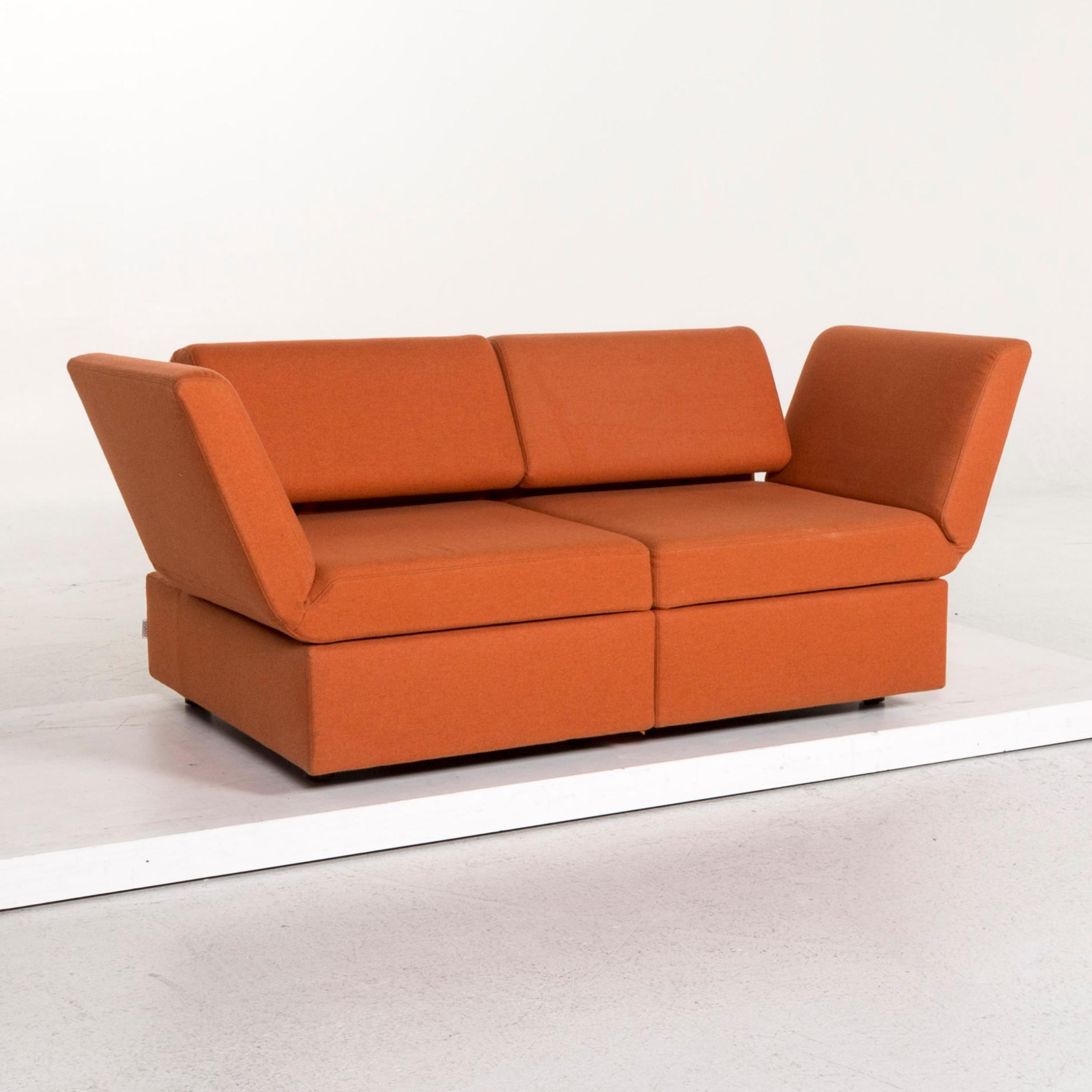 Brühl and Sippold Brühl Clip Fabric Sofa Orange Two Seat ...