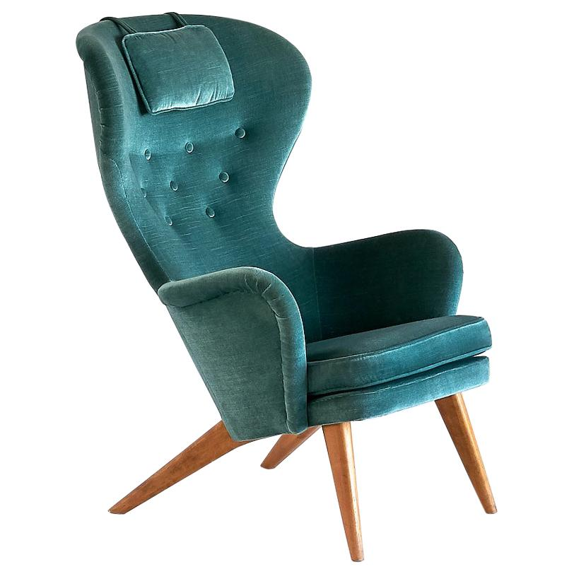 Teal Wingback Chair Carl Gustav Hiort Af Ornäs Wingback Armchair In Teal Velvet Finland 1952