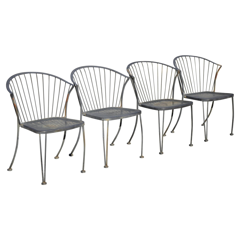 carolina forge wrought iron barrel back midcentury patio dining chair set of 4