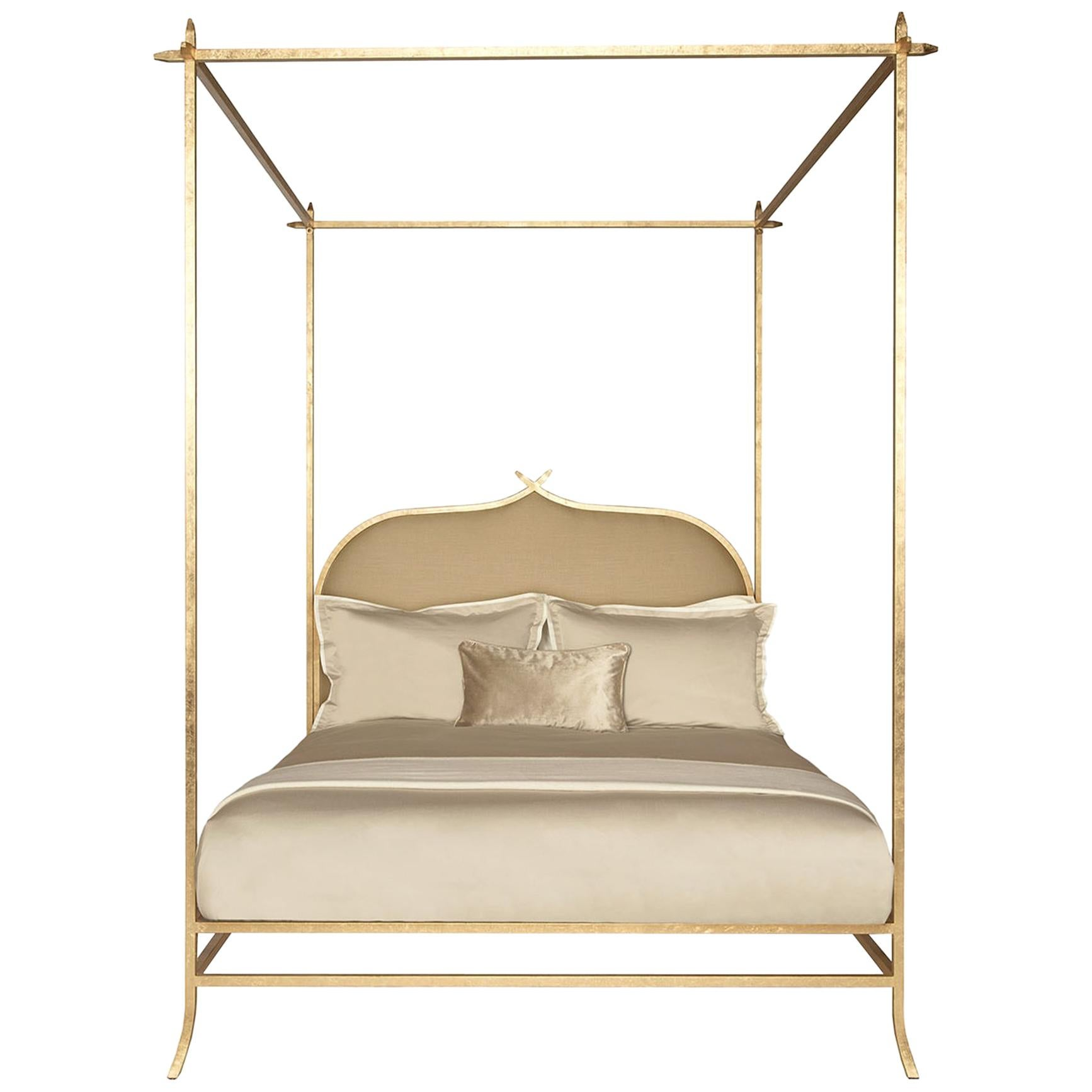 casablanca poster queen bed with gold leaf frame by innova luxuxy group