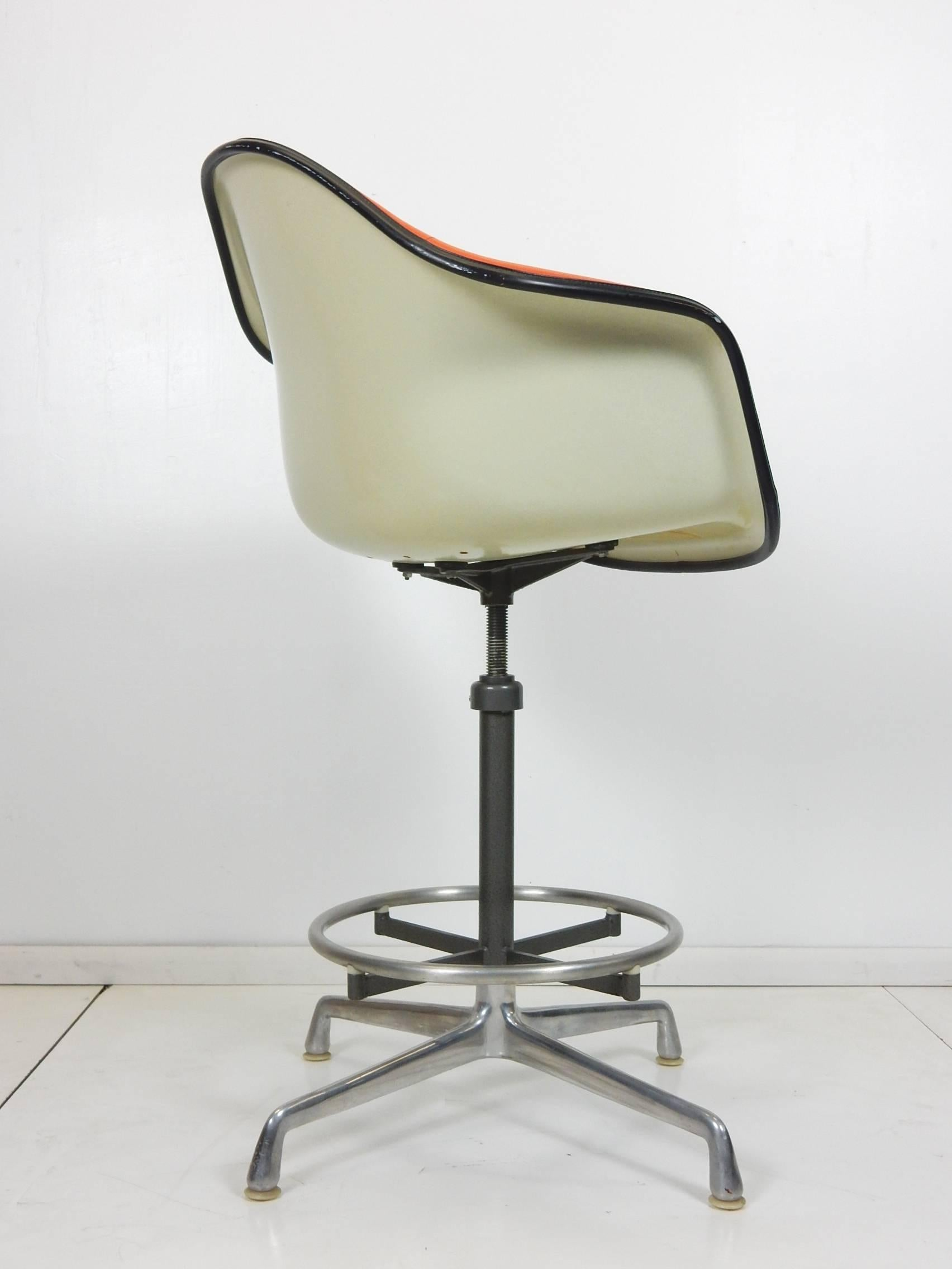modern drafting chair beach patio cushions charles eames for herman miller orange ec 118 arm shell mid century