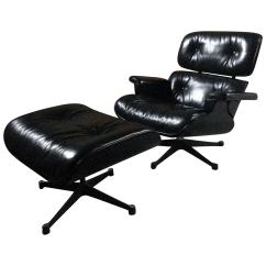 Black Chair And Ottoman Small Leather Charles Ray Eames Lounge 670 671 Ash For Sale