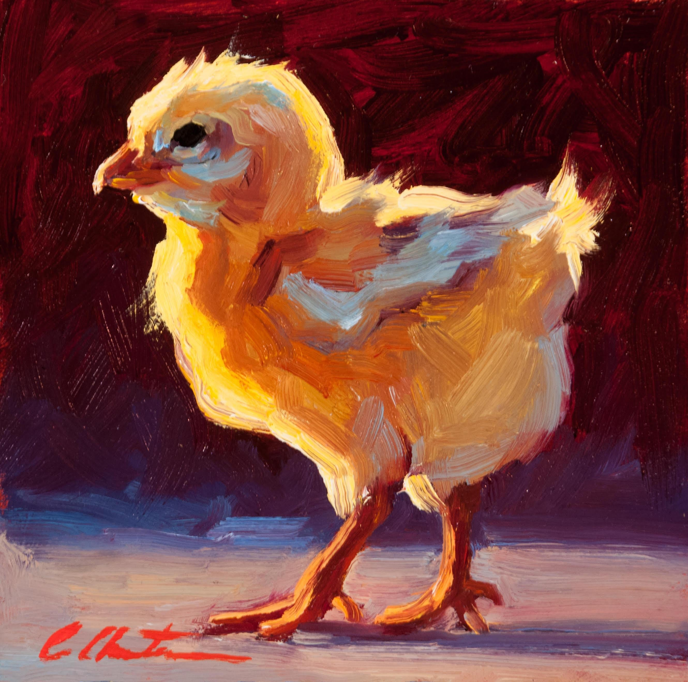 confident chick oil painting
