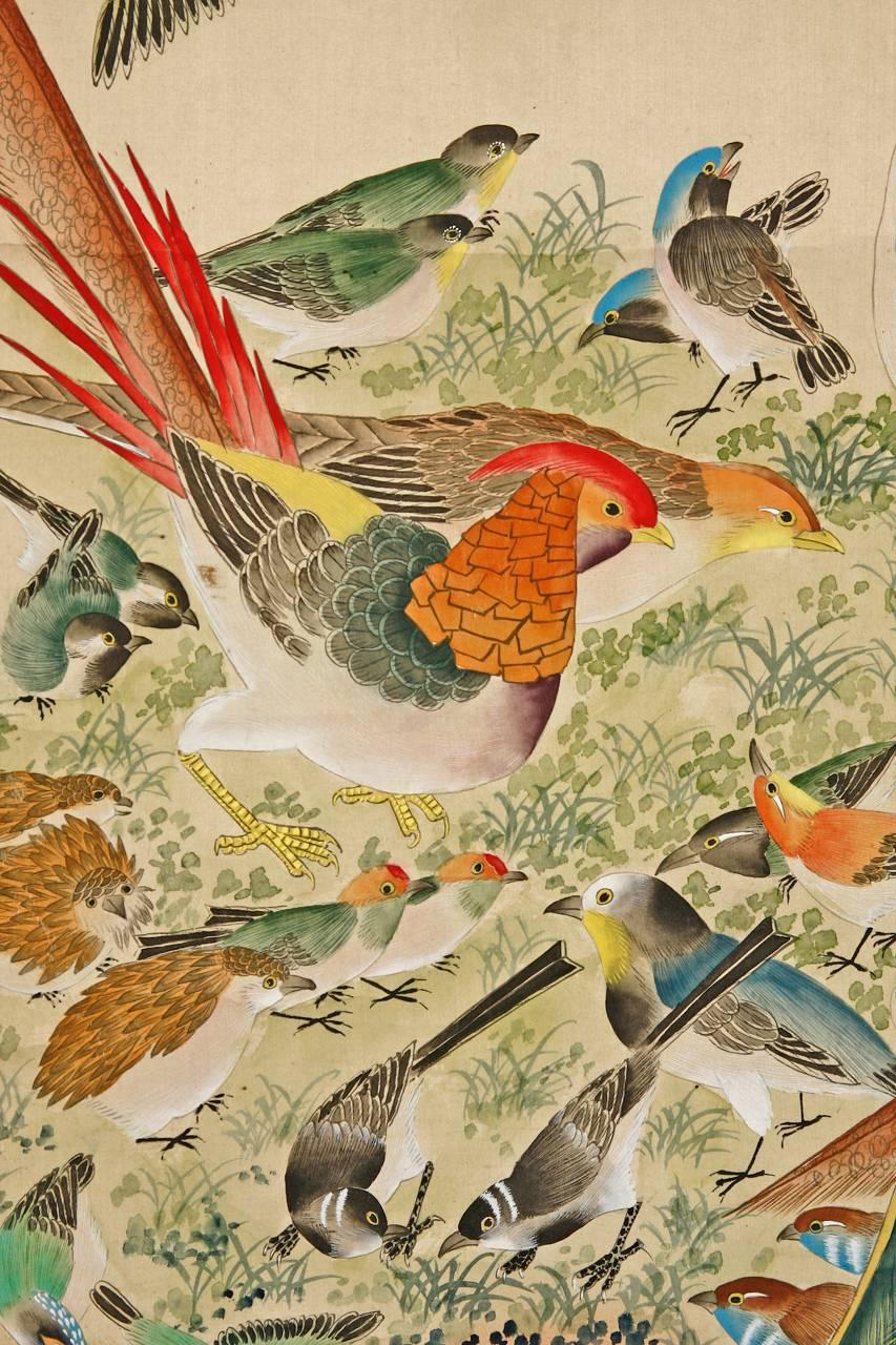 Chinese 100 Bird With Phoenix Hand Painted Hanging Scroll At 1stdibs