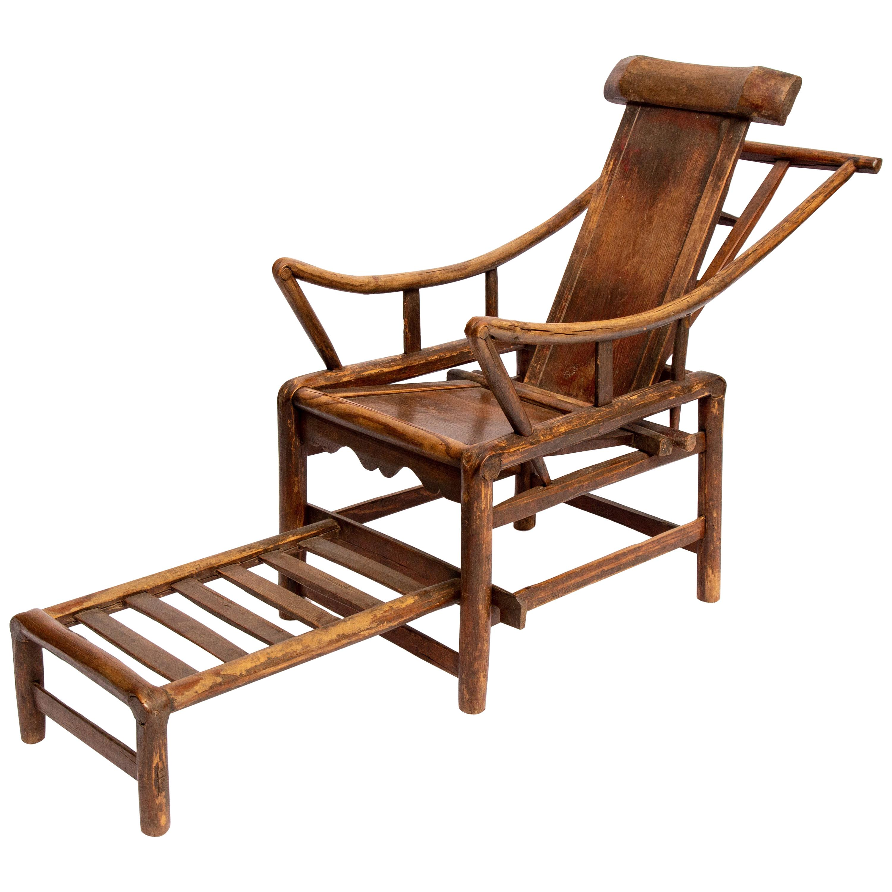 wooden lounge chair wheelchair uae chinese 19th century handcrafted adjustable yoke back 1850s for sale