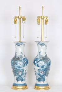 Marbro Chinese Republic Vase Table Lamps with Peacocks on ...