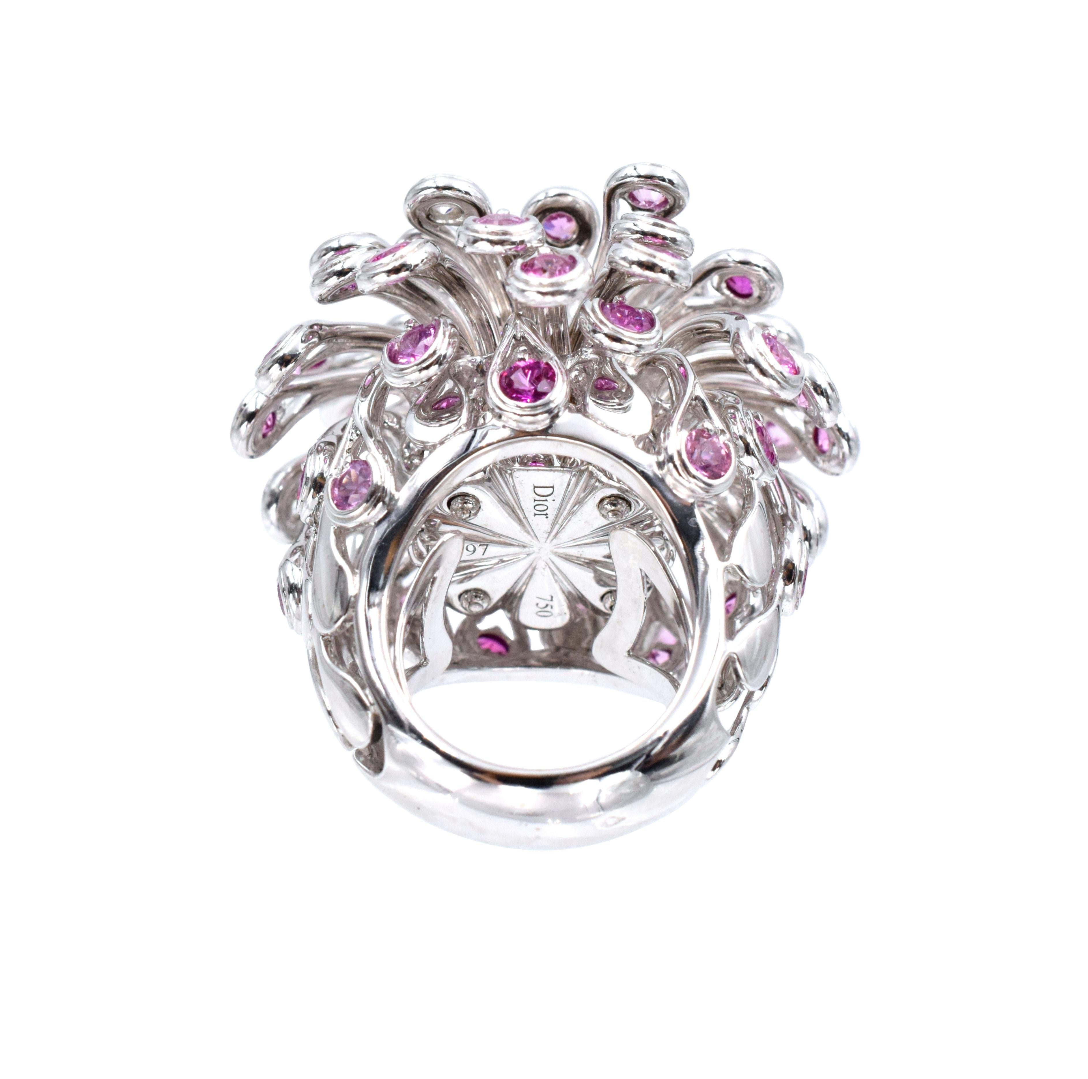 Christian Dior Diamond and Pink Sapphire Ring For Sale at 1stdibs