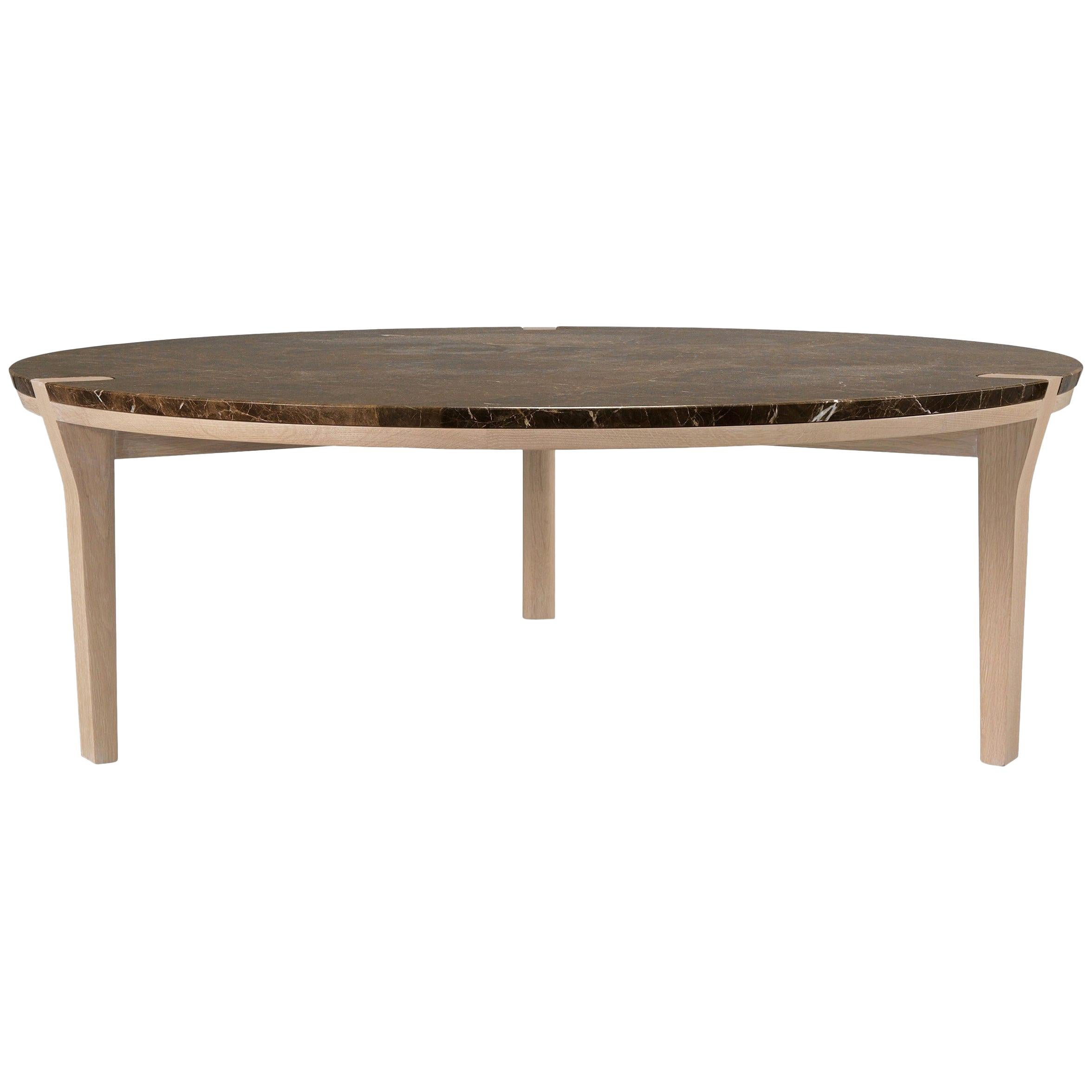 round marble walnut or oak center coffee table