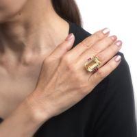 Citrine Ruby Cocktail Ring Vintage 14 Karat Gold Large ...