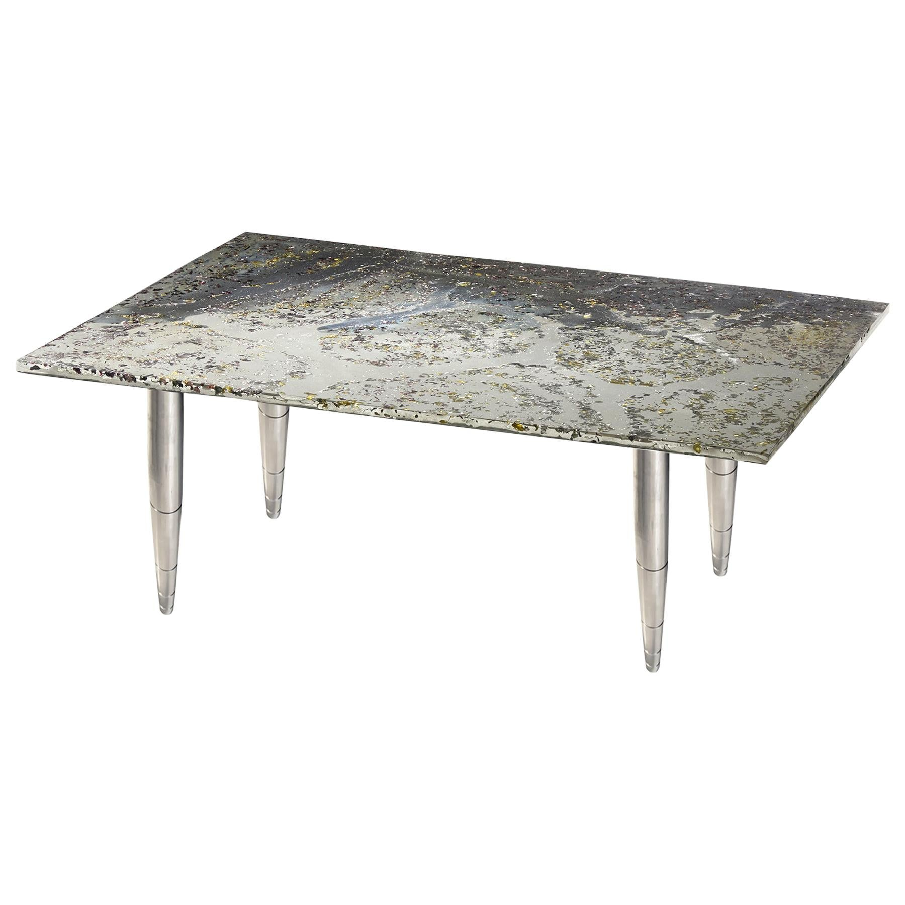 coffee table pluto planet melted pewter murano glass crystal resin