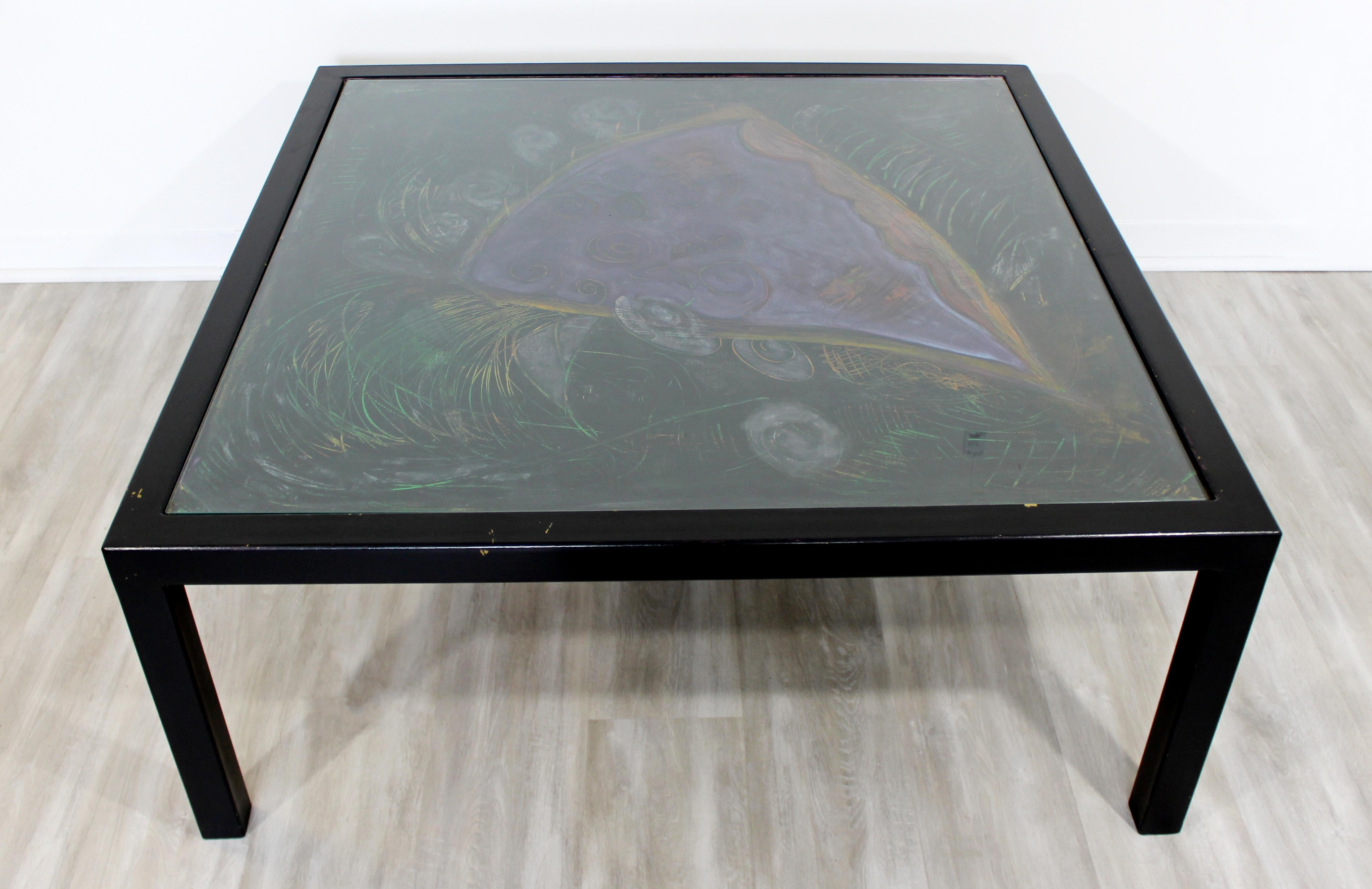 Contemporary Large Square Black Pastel And Glass Coffee Table Artist Lois Teicher For Sale At 1stdibs