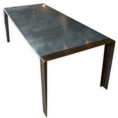 Zinc Kitchen Table Deep Sink Contemporary Patinated Dining Industrial Steel Legs For An Andrew Nebbett Designs Standard Sized Top With Angled Profile Edges