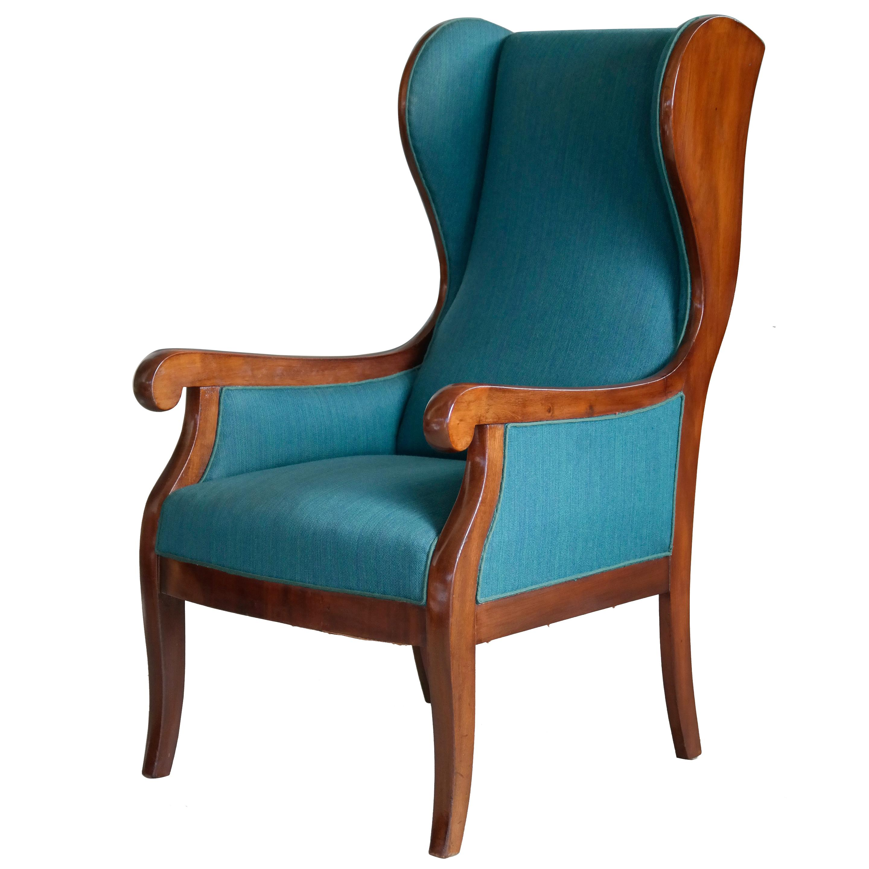 Teal Wingback Chair Danish Wingback Chair In Velvet And Teak 1940s