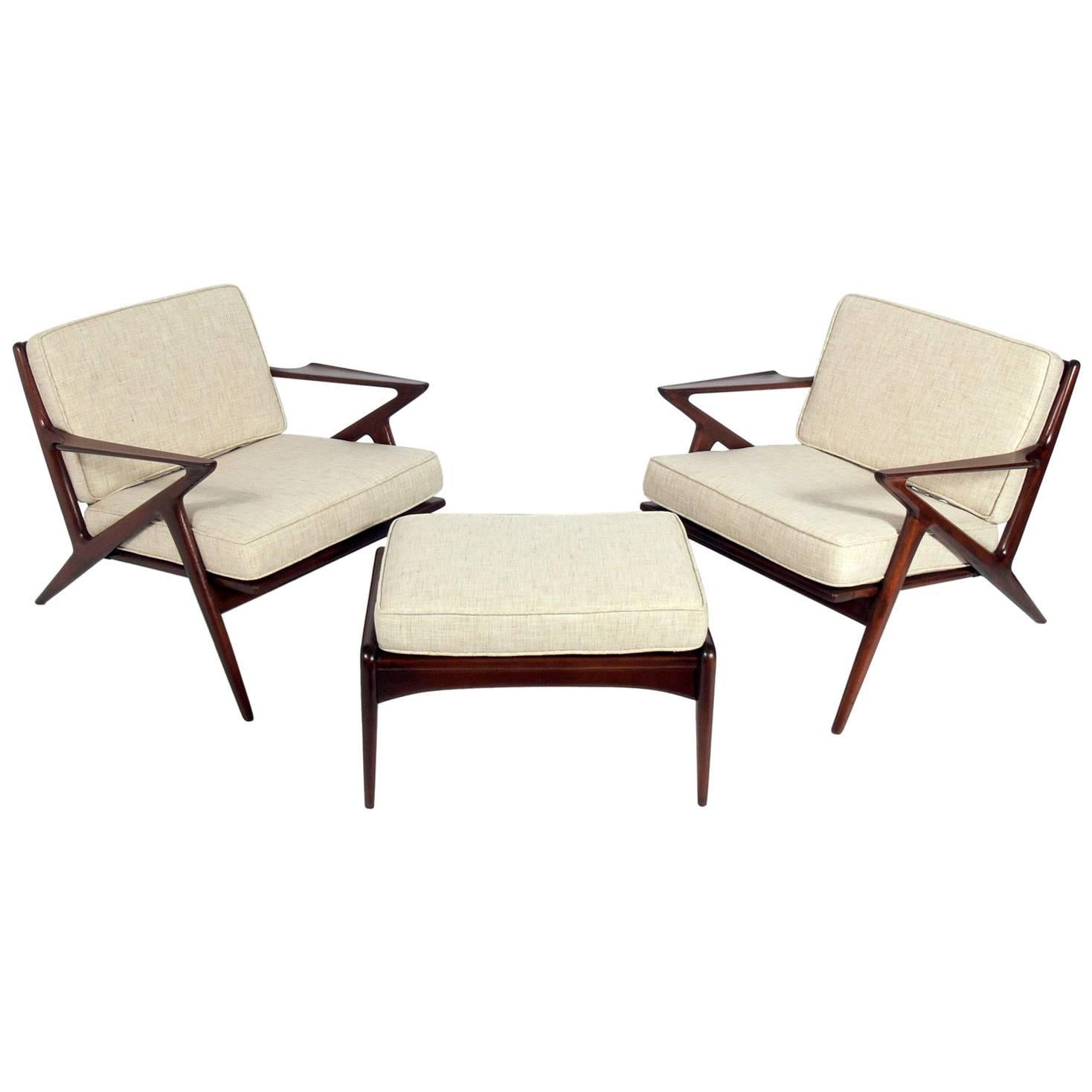 Chairs With Ottoman Danish Modern