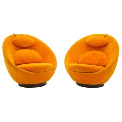 Orange Egg Chair Bedroom Cad Block Pair Of Large Swivel Chairs By Milo Baughman Original At For Sale