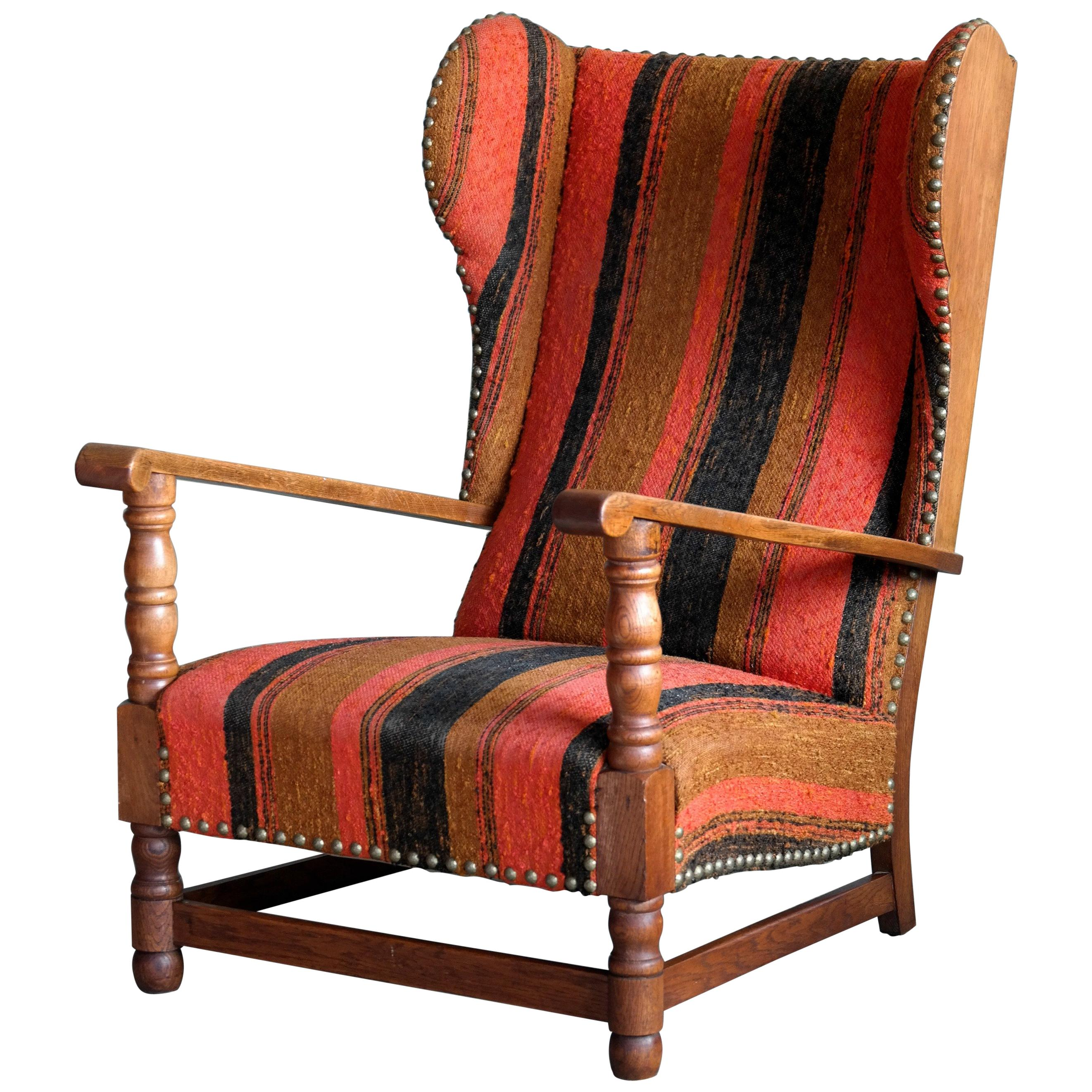 country style wingback chairs parson chair covers danish 1930s midcentury armchair in solid oak for sale