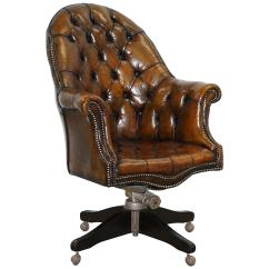 Captains Chair Office Bali Restored 1920s Hillcrest Chesterfield Brown Leather Directors A1 For Sale