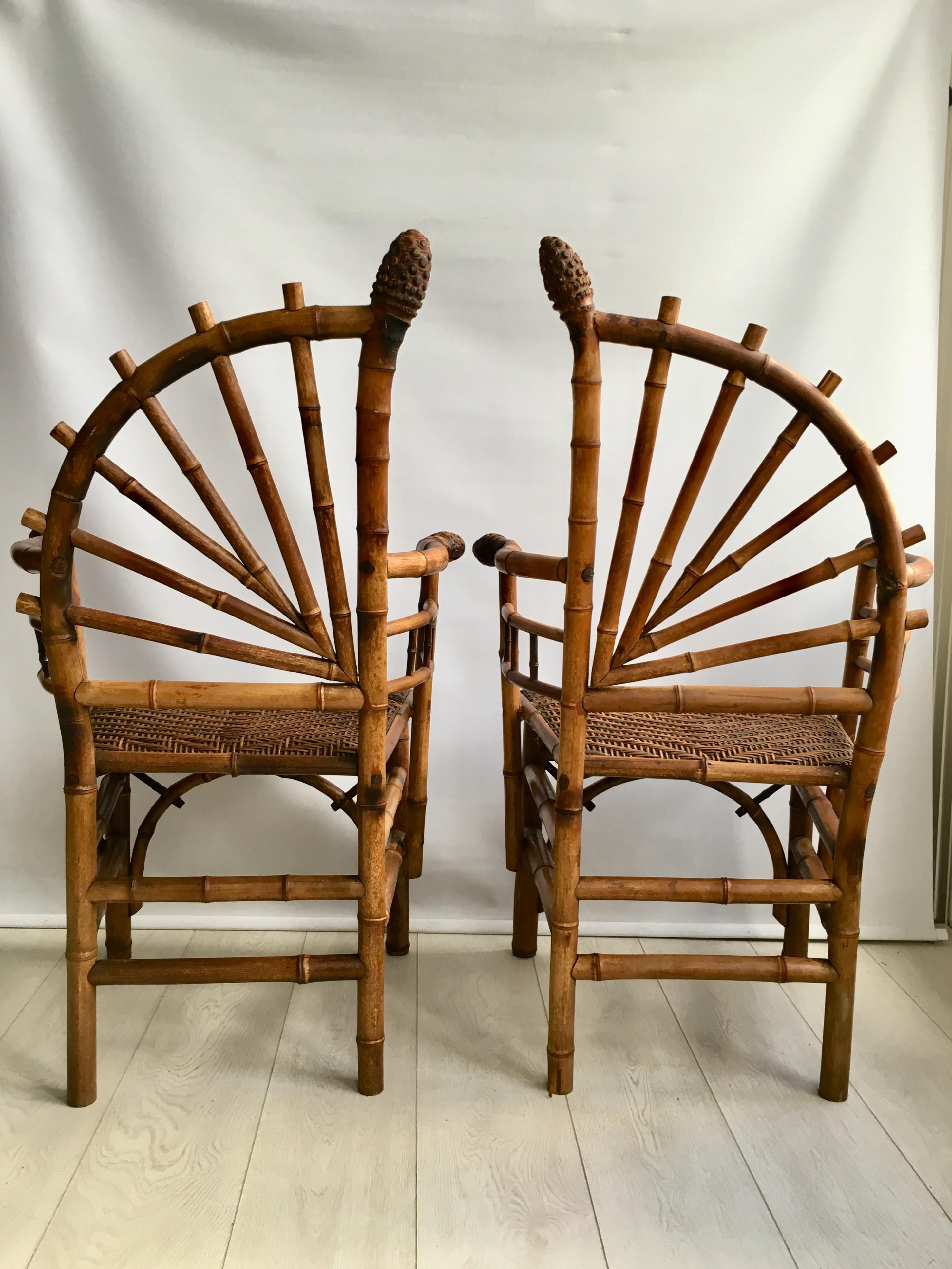 bamboo chairs for sale wicker hoop chair decorative pair of antique at 1stdibs 4