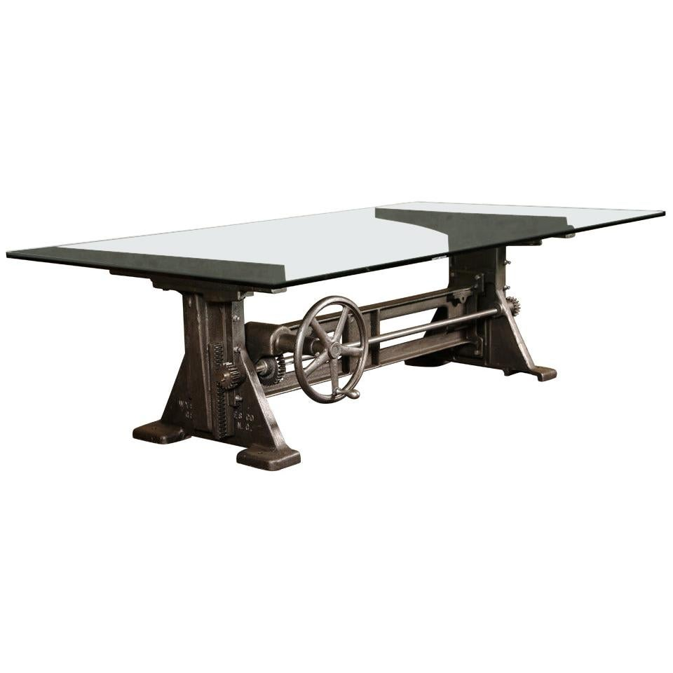 dining table vintage industrial cast iron glass adjustable conference desk base