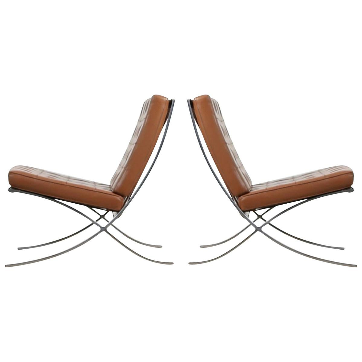Barcelona Chairs For Sale Double Signed Pair Of Mies Van Der Rohe Barcelona Chairs For Knoll International