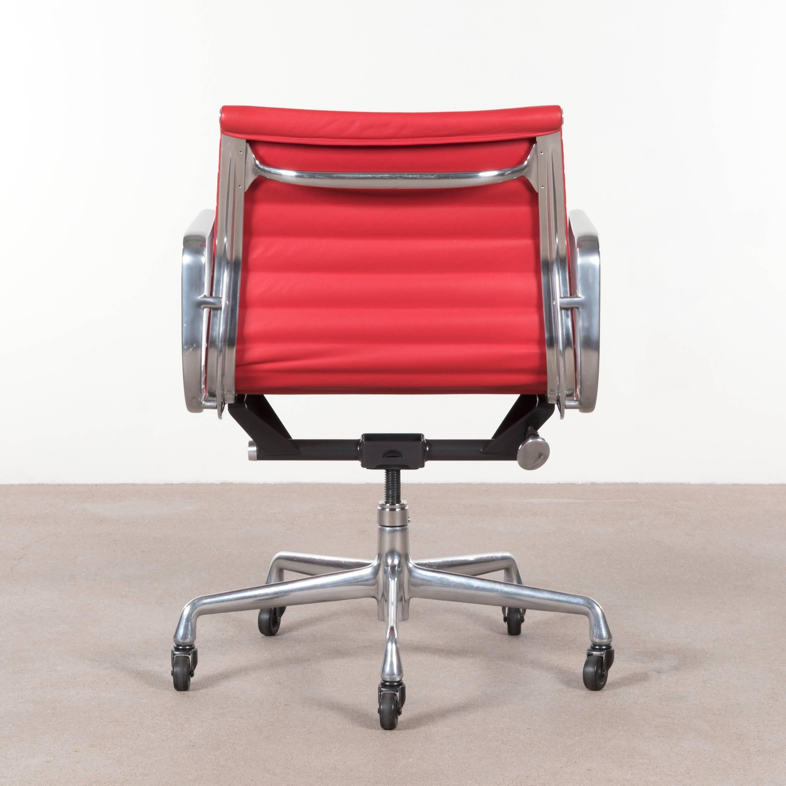 Red Desk Chair Eames Bright Red Leather Management Office Chair For Herman Miller