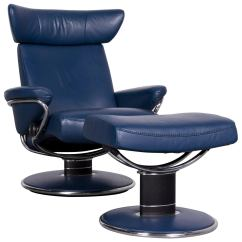Blue Leather Office Chair Folding Adirondack Plan Ekornes Stressless Jazz M Designer Recliner For Sale