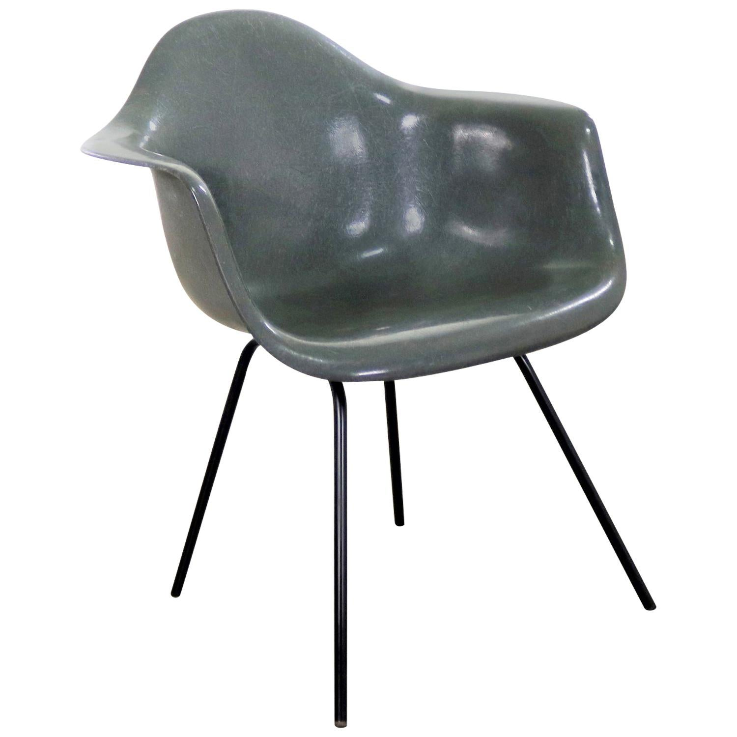 fiberglass shell chair burlap dining chairs elephant hide gray eames herman miller molded dax arm h b for sale