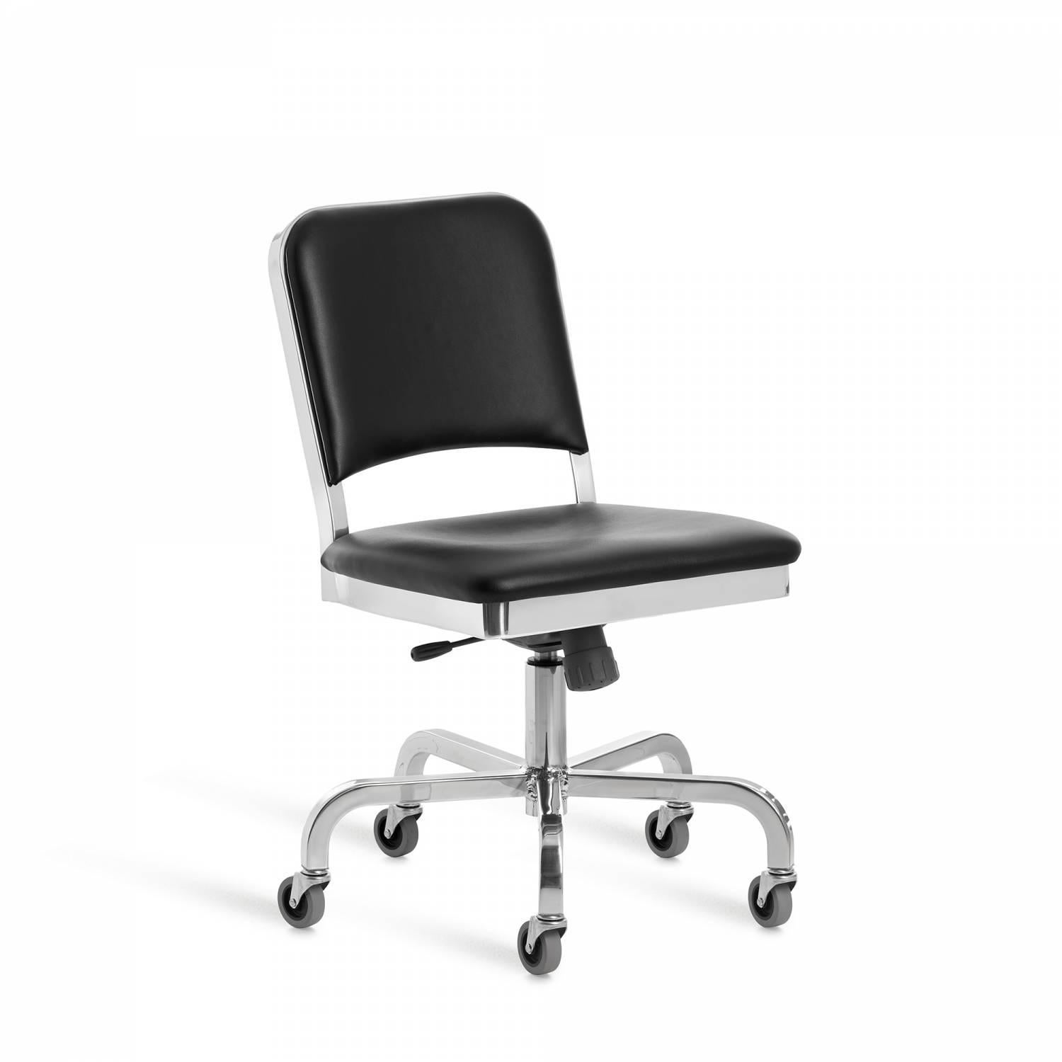 Famous Chair Emeco Navy Swivel Chair In Polished Aluminum And Black Upholstery By Us Navy