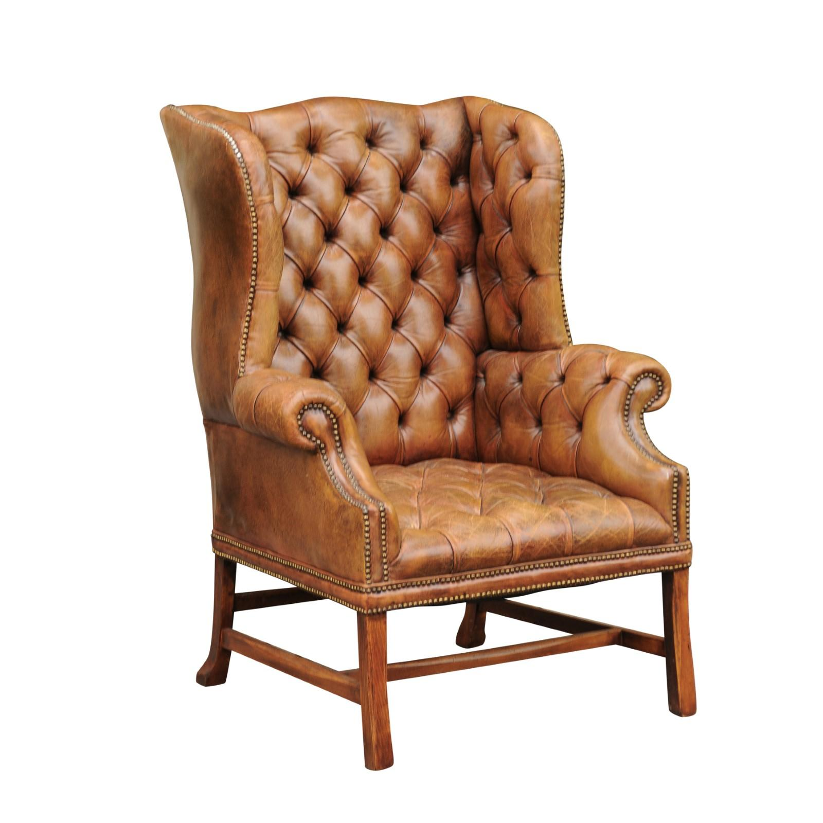 leather wing chairs chair design scandinavian english 1900s button tufted wingback with out scrolling arms for sale