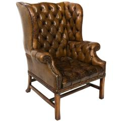 White Leather Wingback Chair Big Lots Furniture Lift Chairs English Tufted Armchair For Sale At 1stdibs
